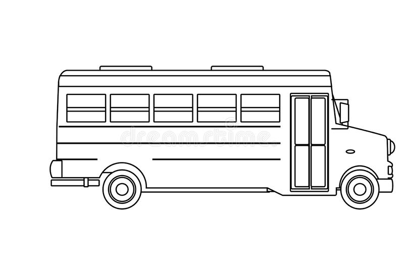 School Bus Icon Cartoon Isolated Black And White Stock Vector