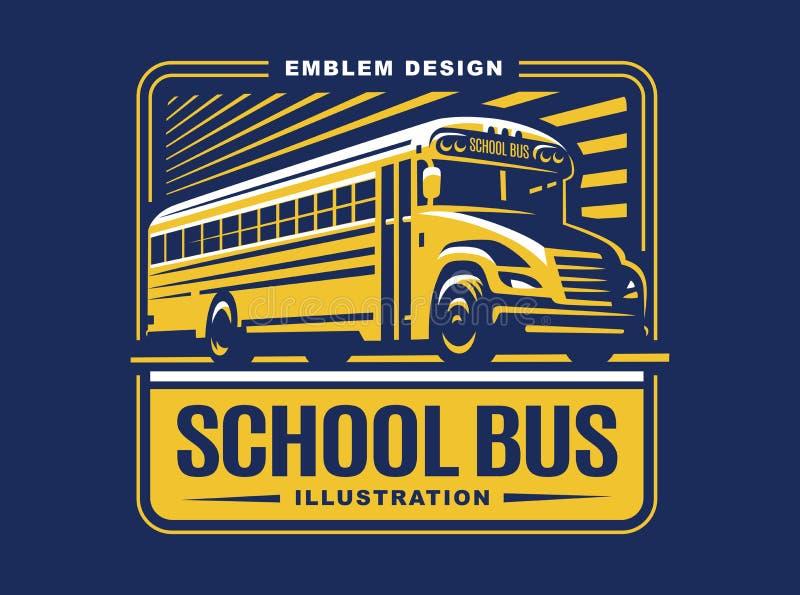 School bus illustration on light background, emblem stock illustration