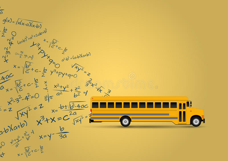 School bus. Illustration of yellow school bus with algebraic equations royalty free illustration
