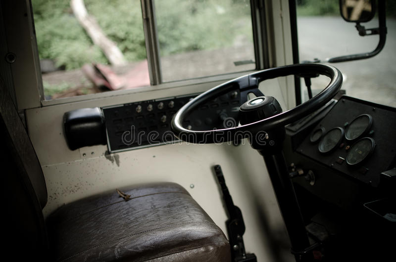 School bus interior. The inside view of a retired school bus in a junkyard royalty free stock image