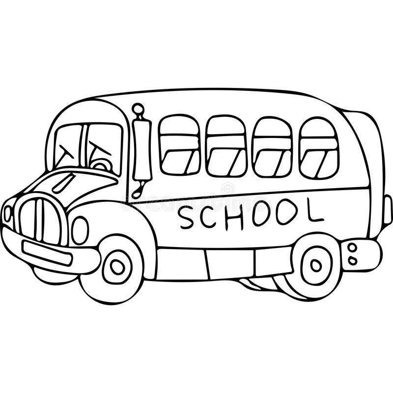 Download School Bus Kids Coloring Pages Stock Illustration