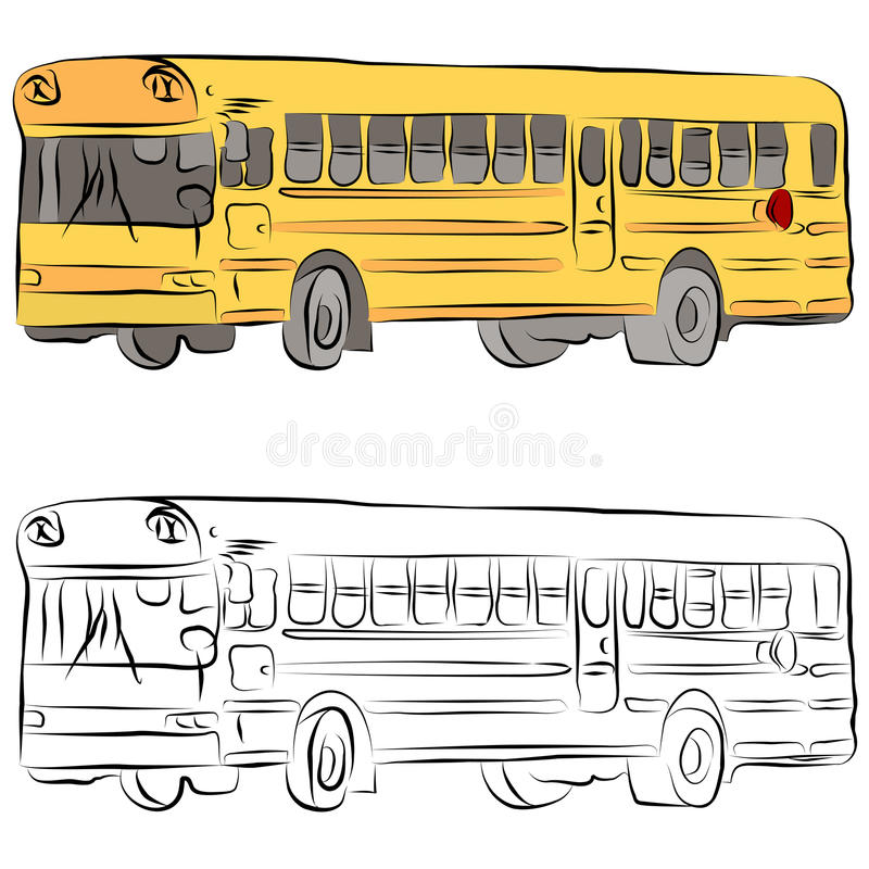 Download School Bus Line Drawing stock vector. Illustration of illustration - 19526551