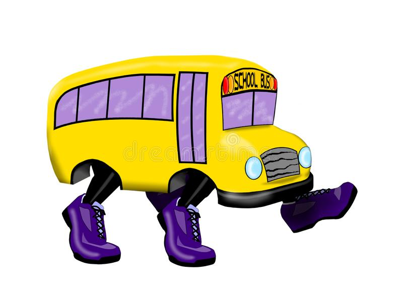 School Bus with Purple Running Shoes - Isolated on White Background. This is an illustration of a yellow school bus equipped with purple shoes instead of wheels vector illustration