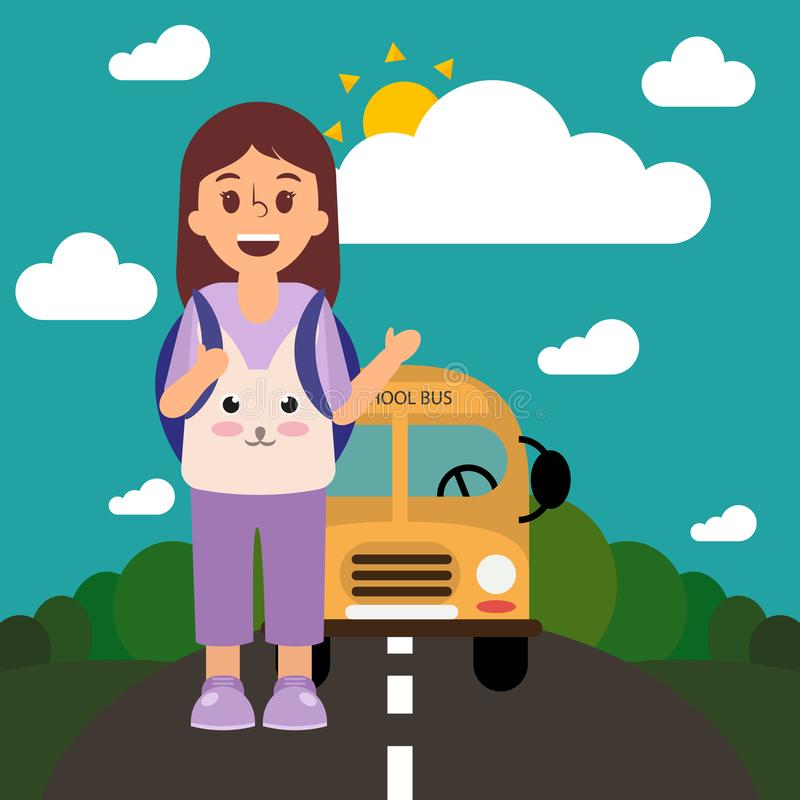 School bus on the road and a pupil waving her hand, back to school. Nature illustration. stock illustration