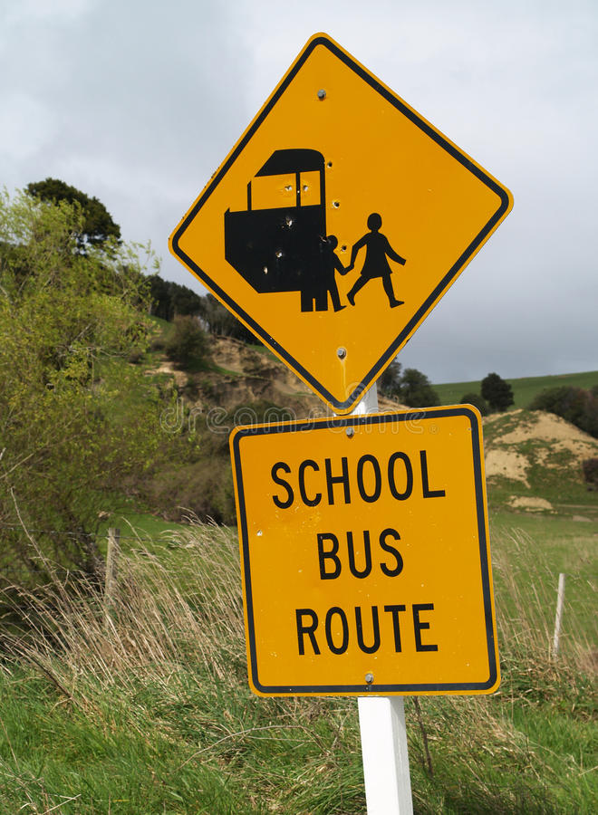 Free School Bus Sign Royalty Free Stock Image - 36026636