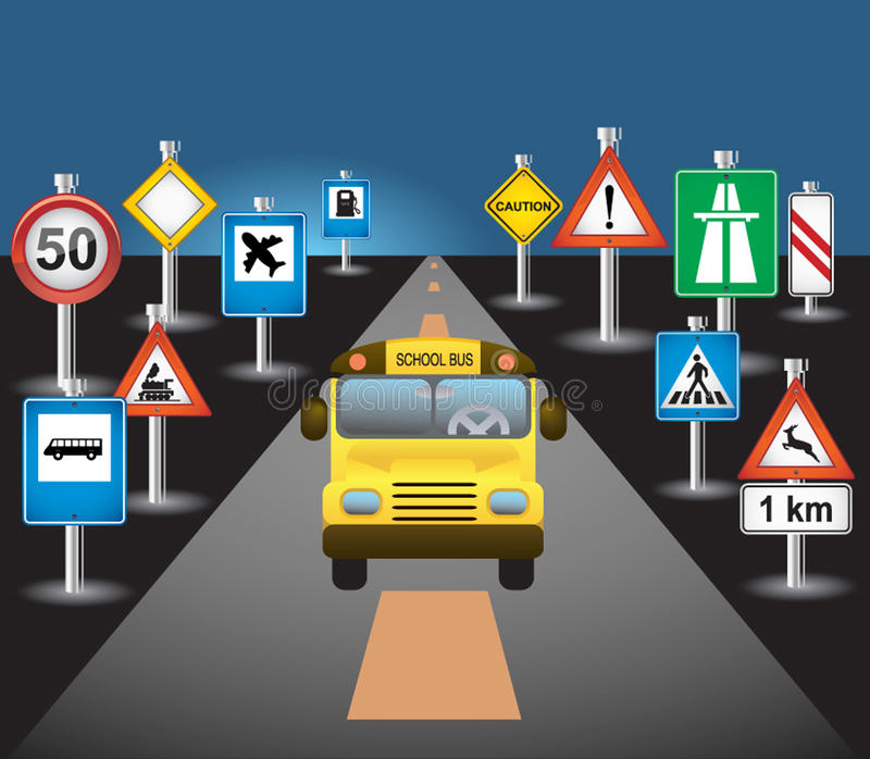 School bus and signs stock illustration