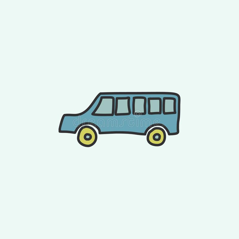 School bus sketch icon. Element of education icon for mobile concept and web apps. Field outline school bus sketch icon can be use. D for web and mobile on blue vector illustration