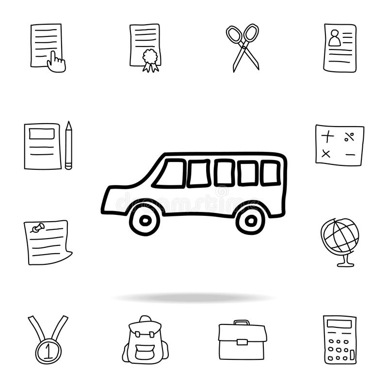School bus sketch icon. Element of education icon for mobile concept and web apps. Outline school bus sketch icon can be used for. Web and mobile on white royalty free illustration