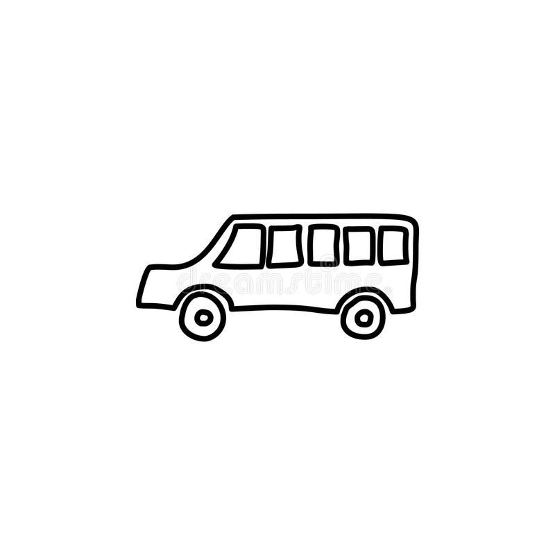 School bus sketch icon. Element of education icon for mobile concept and web apps. Outline school bus sketch icon can be used for. Web and mobile on white vector illustration