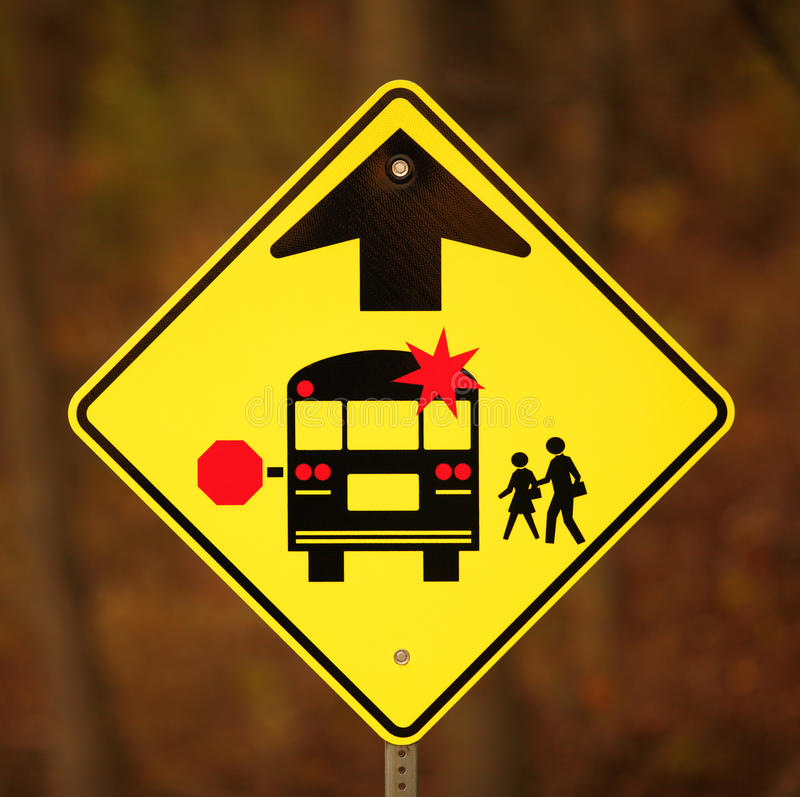 School Bus Stop Ahead Sign stock photography