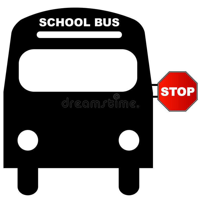School Bus With Stop Sign Royalty Free Stock Photography