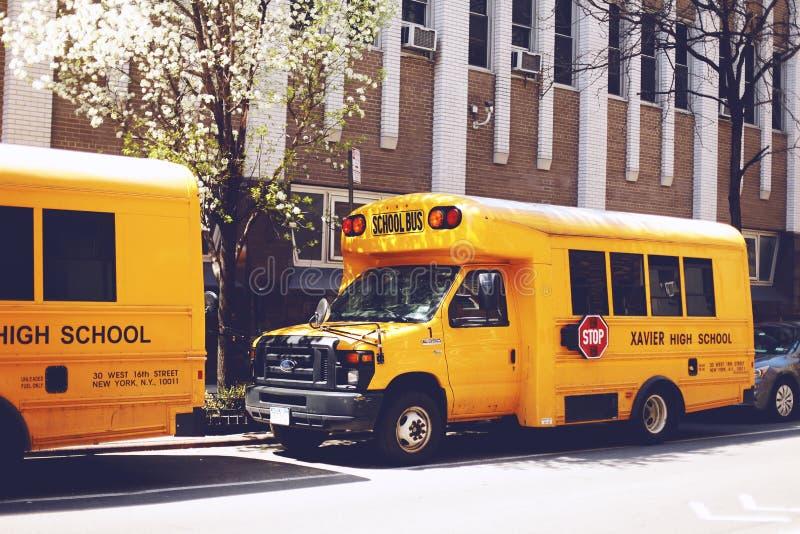 School bus on street of New York city, USA stock image