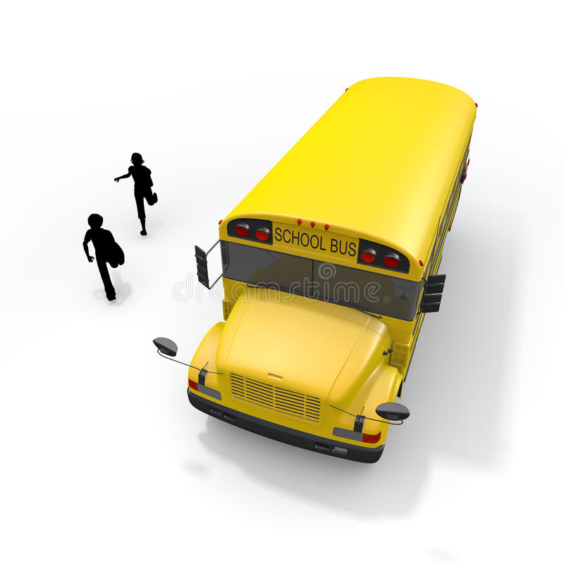School bus student. Student of the morning. Landscape of school. Take advantage of the school bus. I fit in friends. Students run. I get on the bus royalty free illustration
