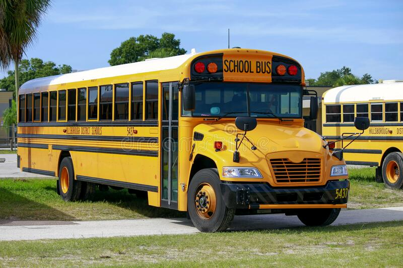 School Bus United States. Bus from Hillsborough County  United States School public transportation in a parking lot royalty free stock image