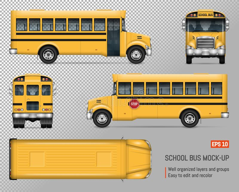 School bus vector mockup. School bus vector mock-up. Isolated template of yellow autobus on transparent background. Vehicle branding mockup, view from side stock illustration
