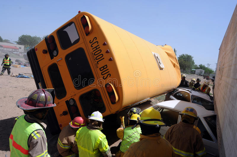 School bus wreck royalty free stock images