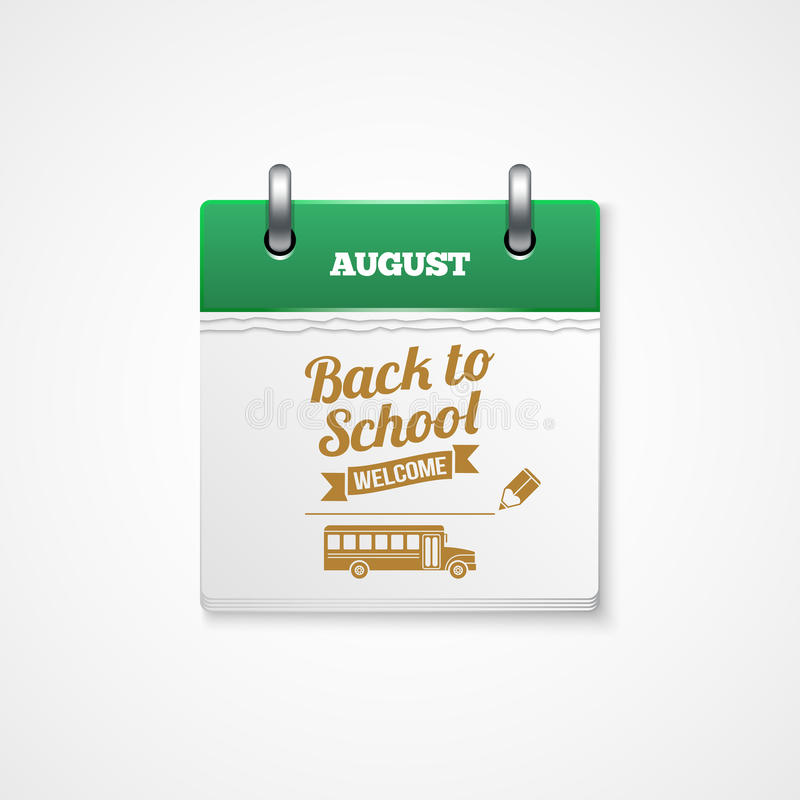 School calendar. Vector Back to school calendar event royalty free illustration
