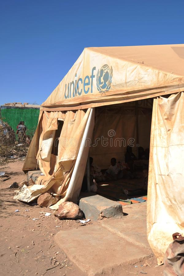 School camp for African refugees on the outskirts of Hargeisa stock photo