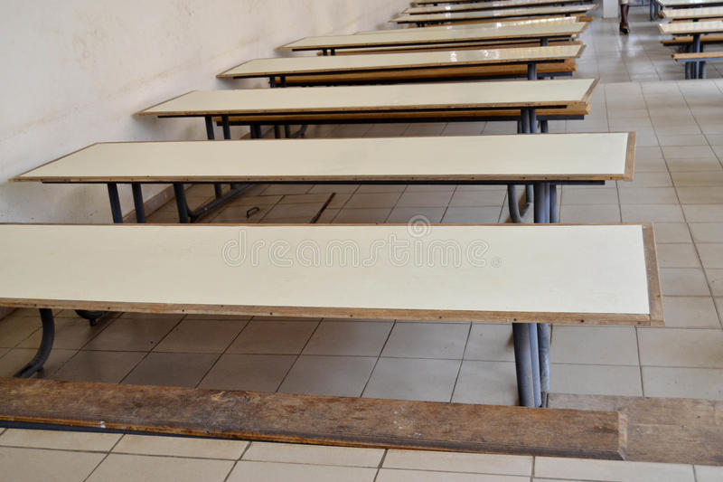 SCHOOL CANTINE TABLE royalty free stock images