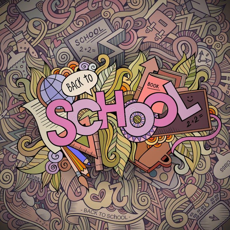 School cartoon hand lettering and doodles elements. Background. Vector illustration stock illustration