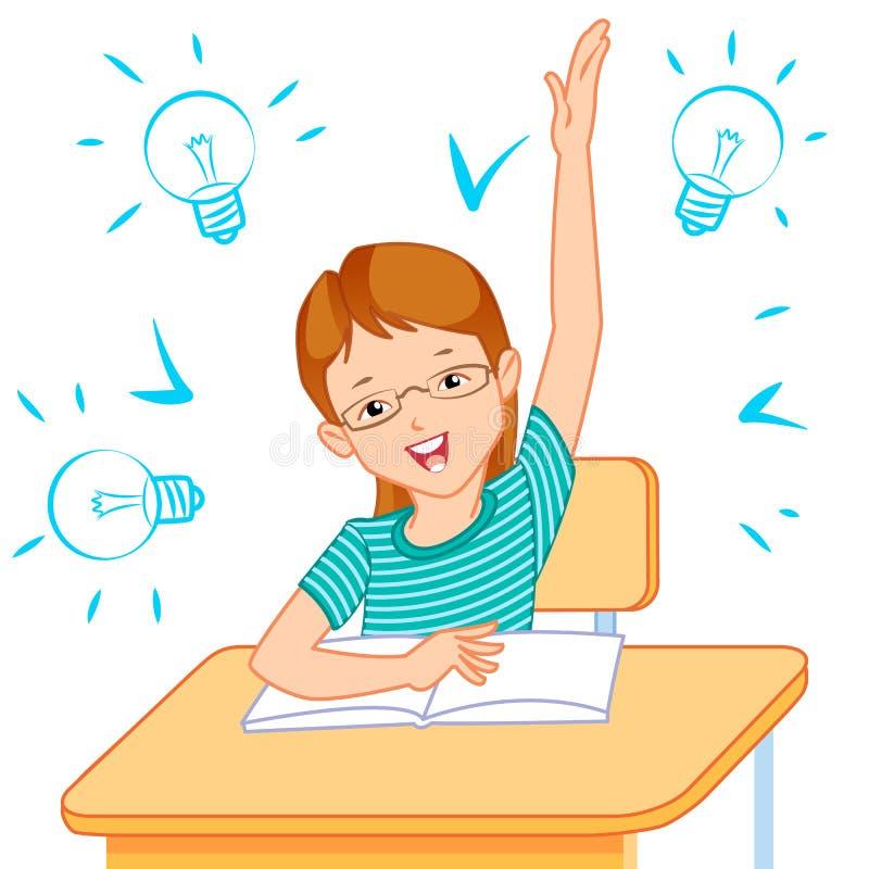 School child in classroom stock photo