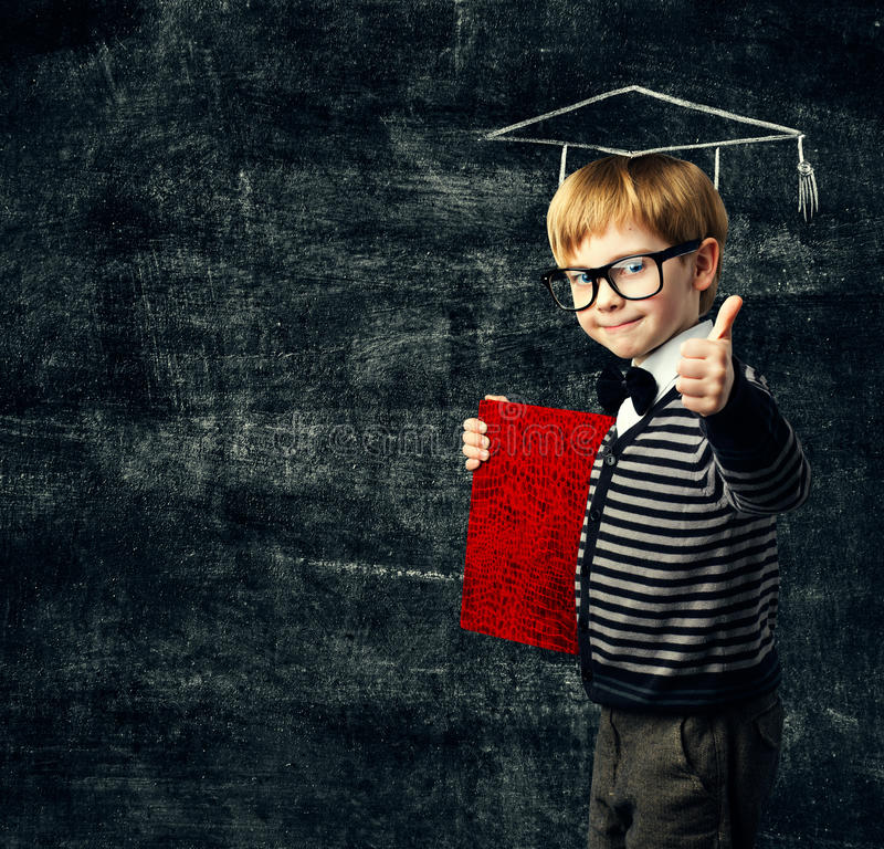 School Child Education Book, Kid in Glasses with Diploma royalty free stock photos