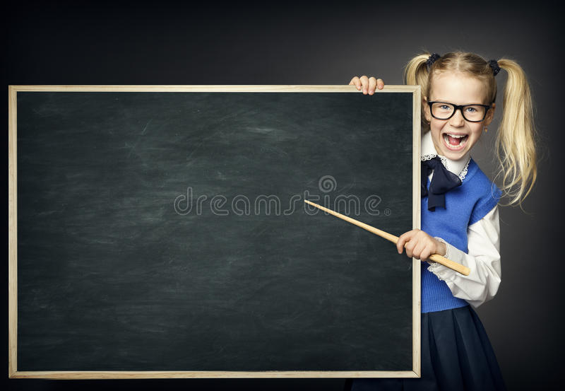 School Child with Pointer, Kid Girl Peek Blackboard, Education stock images