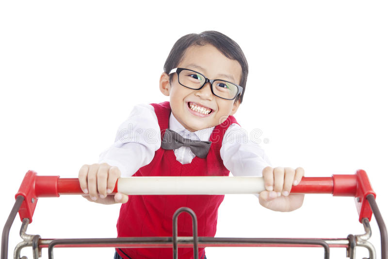 School Child Pushing Trolley Stock Photos