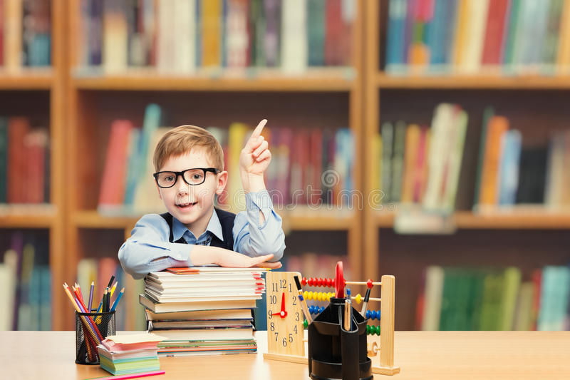 School Child Student Pointing Up, Kid Boy Classroom Education royalty free stock image