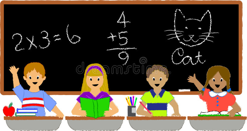 School Children Classroom/ai. Illustration of a group of school kids seated at their desks in a classroom...ai file available