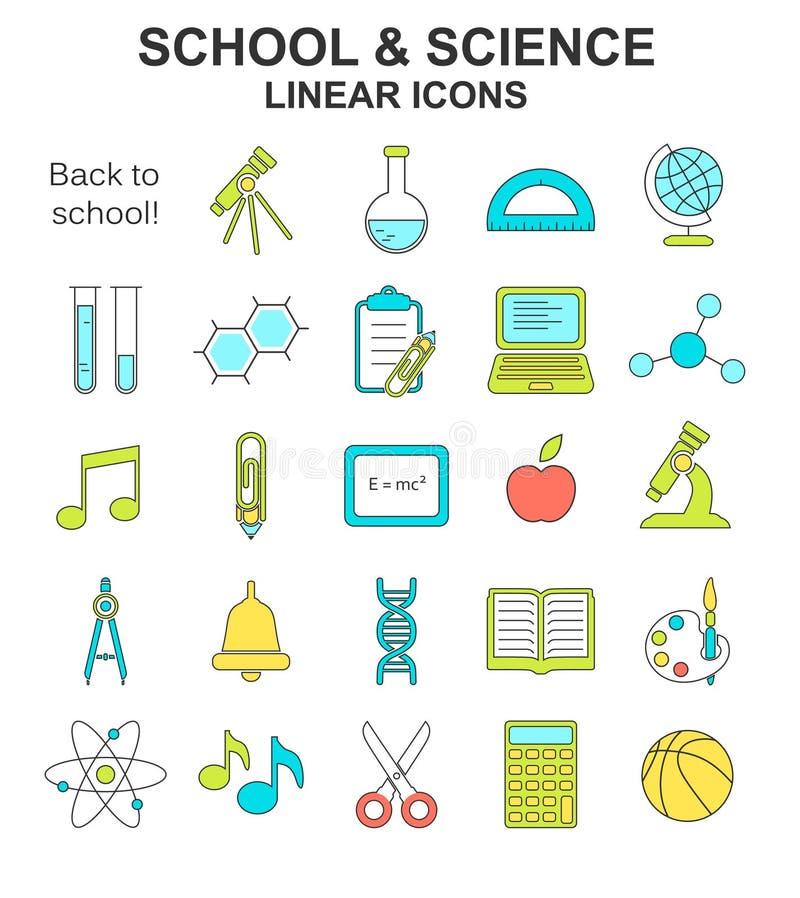 School children colored line style icons set vector illustration