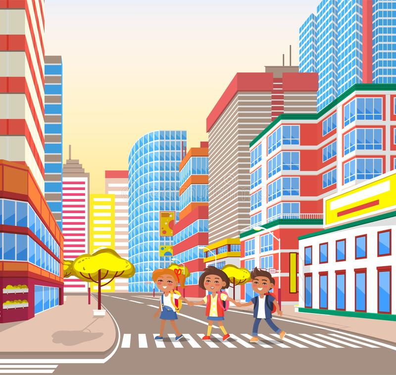 Pupils Walking in City, Crossing Road, Town Vector stock illustration