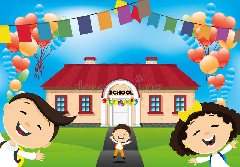 School children go to school. stock illustration