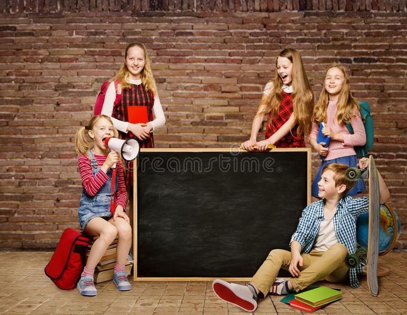 School Children Group, Kids Students around Blackboard, Boy Girl stock photography