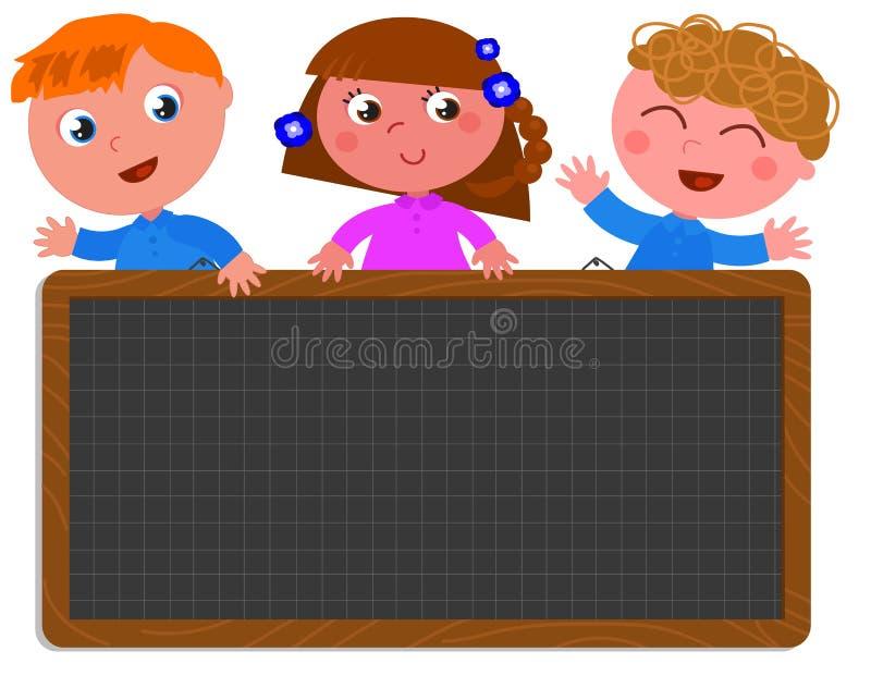School children holding a black board stock illustration