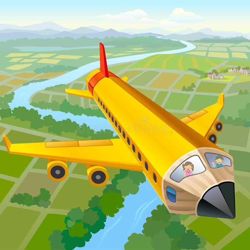 School Children On Pencil Aeroplane Ride royalty free illustration