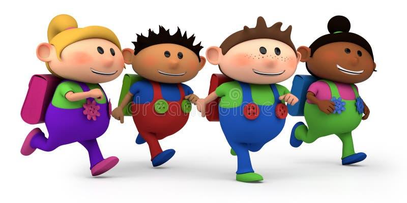 School children running vector illustration