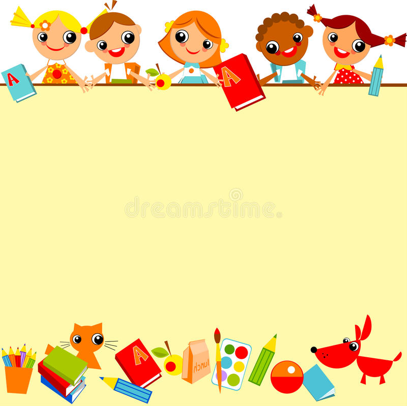 School childrens background. School childrens yellow background. Place for text