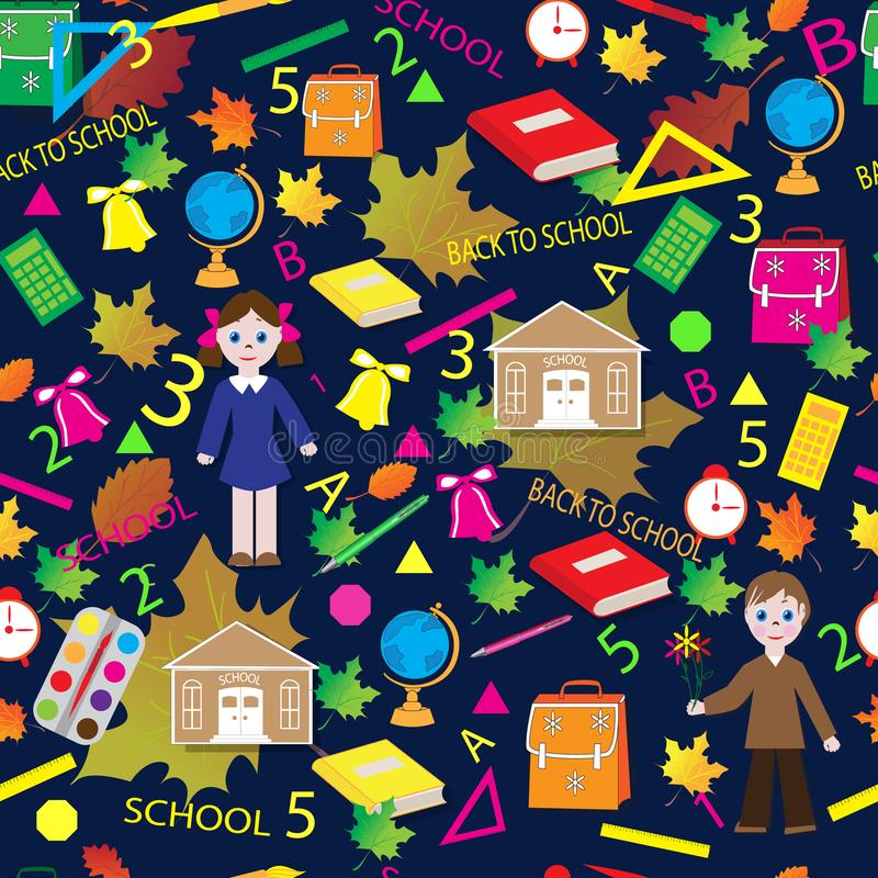 School children`s seamless pattern royalty free stock photography