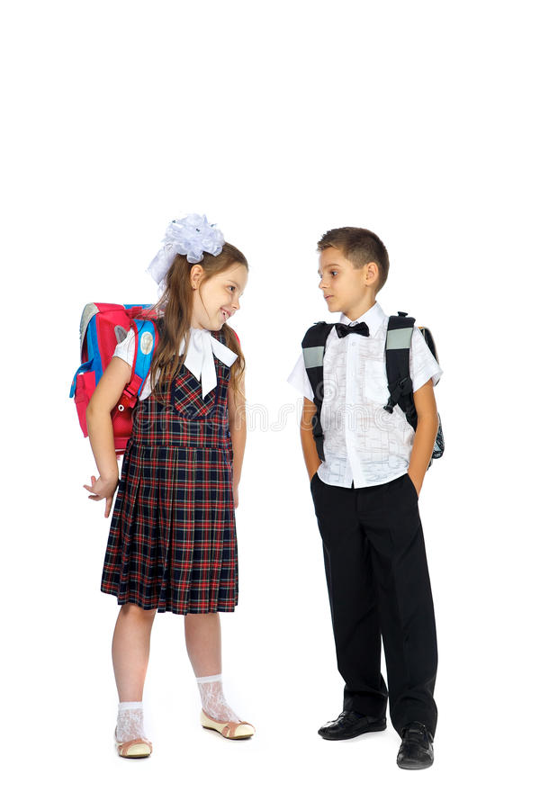 School children with school bags royalty free stock image
