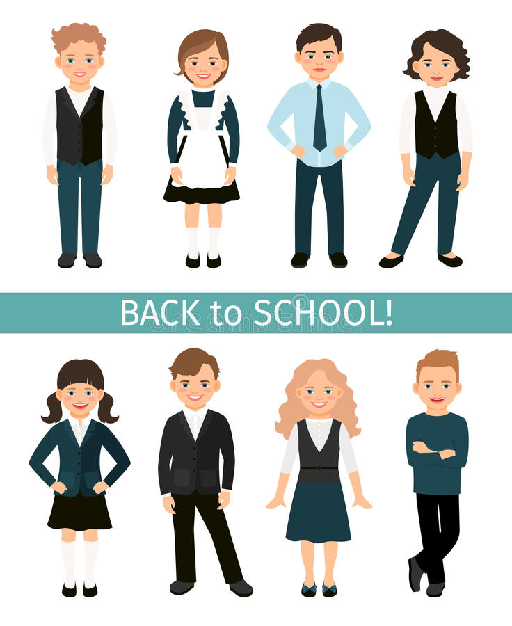 School children set stock illustration
