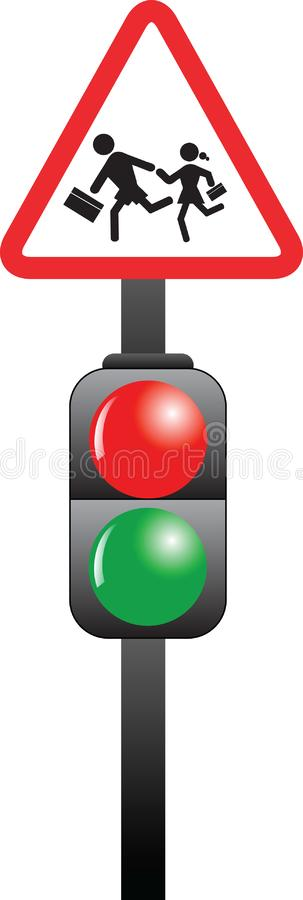 School children sign and traffic light vector illustration