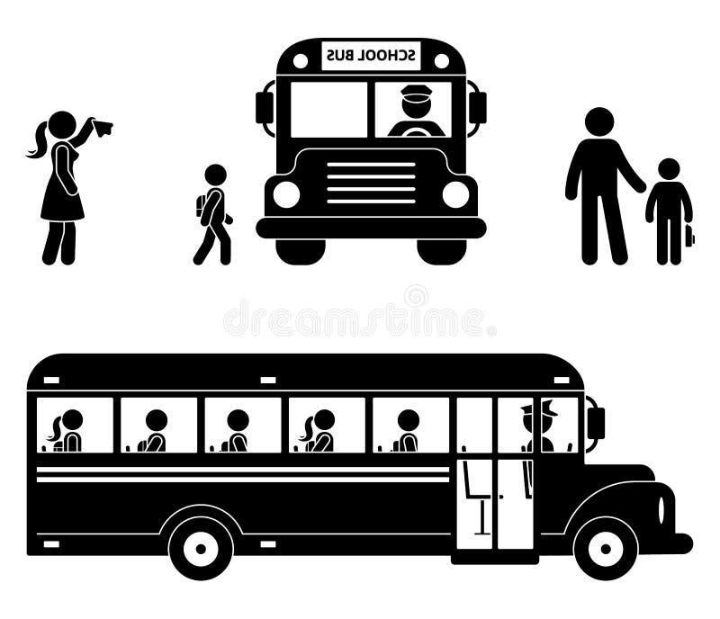 School children sitting in the bus. Stick figure back to school icon. stock illustration