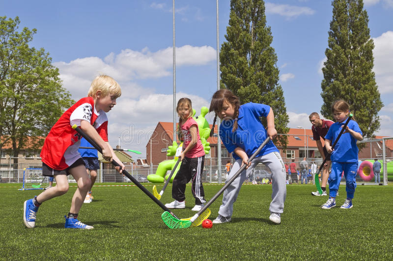 School children on sports day. Children of a school having there annual sports day royalty free stock photos