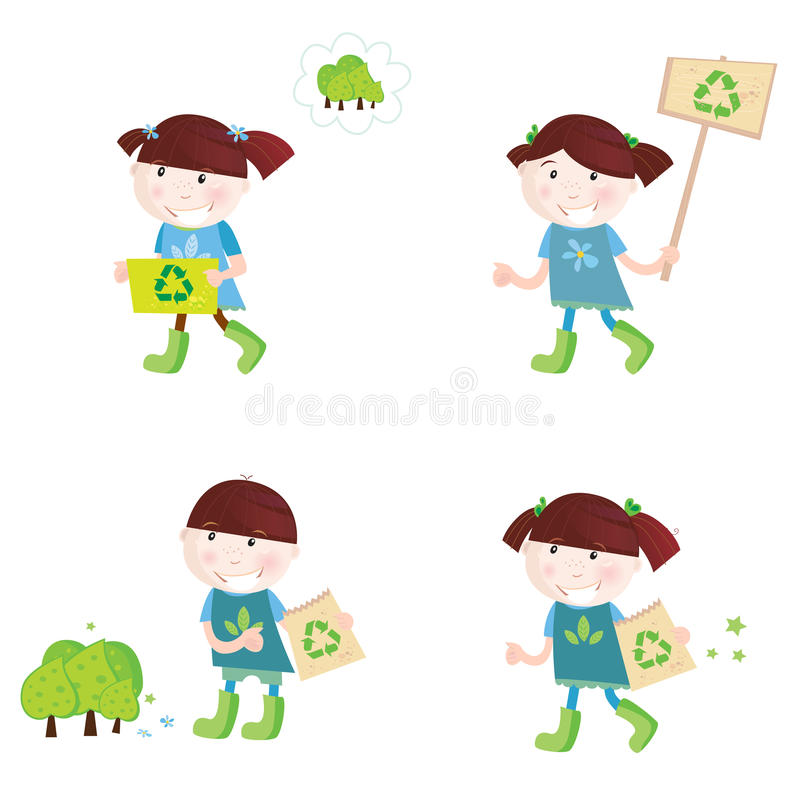 School children support recycling royalty free illustration