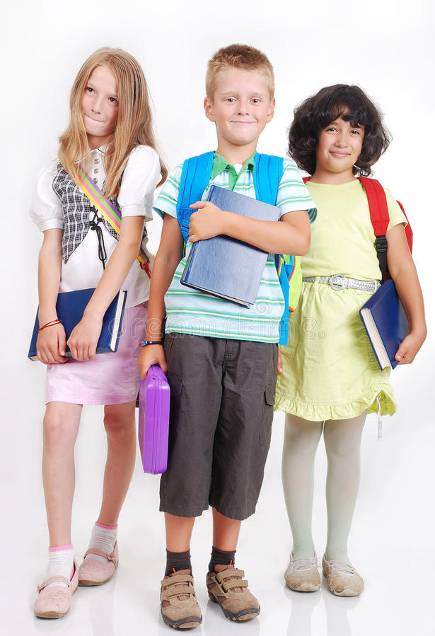 Free School Children With Bags And Books Isolated Royalty Free Stock Photography - 10627767