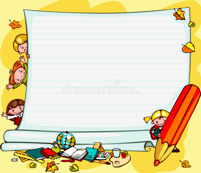 School childrens background. School childrens yellow background. Place for text vector illustration