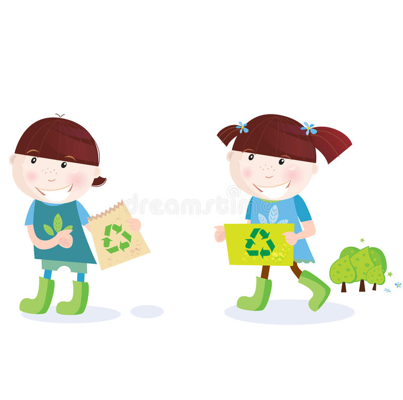 School childrens with recycle symbol stock illustration