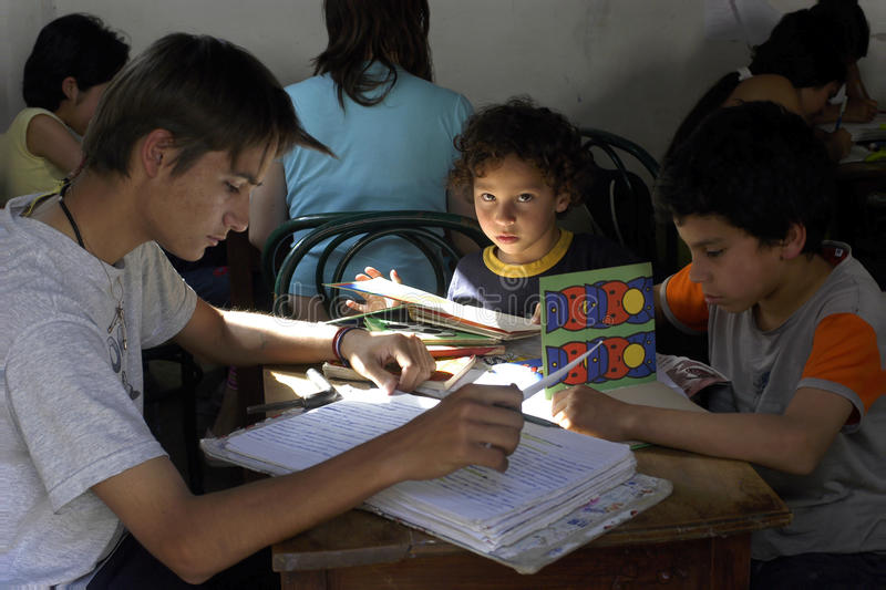School class with teacher and pupils, Argentina stock image