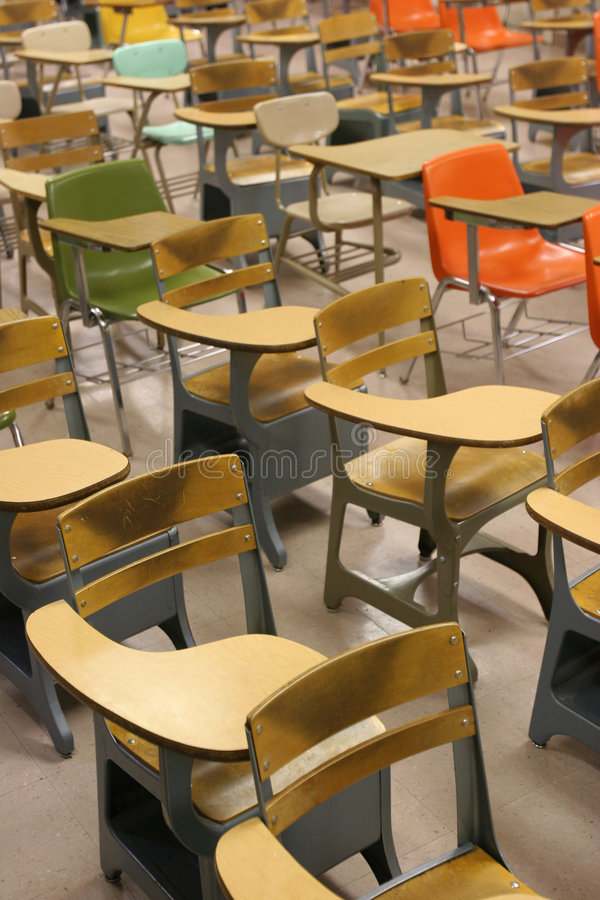 School Classroom Desks royalty free stock images